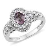 Burmese Lavender Spinel, White Topaz Platinum Over Sterling Silver Ring (Size 10.0) TGW 1.90 cts.