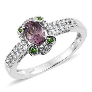 Burmese Lavender Spinel, Russian Diopside, Cambodian Zircon Platinum Over Sterling Silver Ring (Size 8.0) TGW 1.32 cts.
