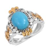 Arizona Sleeping Beauty Turquoise 14K YG and Platinum Over Sterling Silver Heart Openwork Ring (Size 11.0) TGW 2.35 cts.