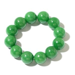 Bumese Green Jade Bracelet (Stretchable) (6.50 In) TGW 576.00 cts.