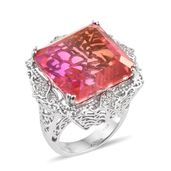 Arizona Sunset Quartz, Cambodian Zircon Platinum Over Sterling Silver Ring (Size 8.0) TGW 38.51 cts.