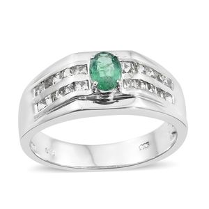 Premium Brazilian Emerald, White Topaz Platinum Over Sterling Silver Men's Ring (Size 13.0) TGW 2.00 cts.