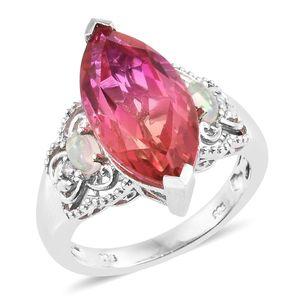 Arizona Sunset Quartz, Ethiopian Welo Opal, Diamond Accent Platinum Over Sterling Silver Ring (Size 7.0) TGW 9.38 cts.