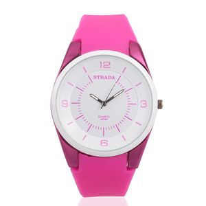 STRADA Japanese Movement Water Resistant Watch with Rose Pink Silicone Band and Stainless Steel Back