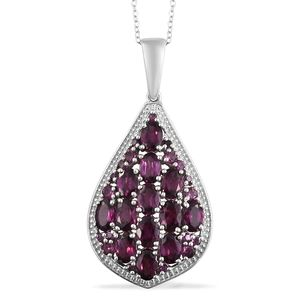 Orissa Rhodolite Garnet Platinum Over Sterling Silver Cluster Pendant With Chain (20 in) TGW 8.58 cts.