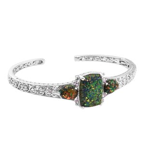 Lab Created Black Ridge Opal, Madagascar Pink Sapphire Platinum Over Sterling Silver Cuff (7.25 in) TGW 7.73 cts.