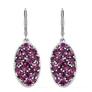 Orissa Rhodolite Garnet Platinum Over Sterling Silver Earrings TGW 6.62 cts.
