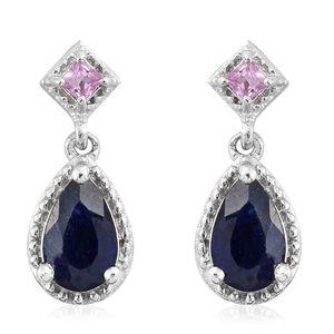 Masoala Sapphire, Madagascar Pink Sapphire Platinum Over Sterling Silver Dangle Earrings TGW 2.82 cts.