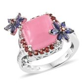 Burmese Pink Jade, Multi Gemstone Platinum Over Sterling Silver Floral Ring (Size 11.0) TGW 13.53 cts.