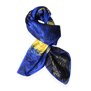Yellow and Blue The Starry Nights Van Gogh Oil Painting 100% Natural Mulberry Silk Scarf (33.85x33.85 in)
