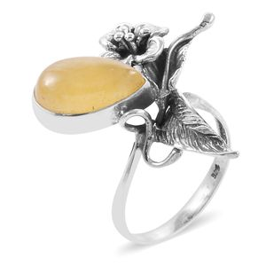 Bali Legacy Collection Burmese Honey Jade Sterling Silver Ring (Size 11.0) TGW 8.09 cts.