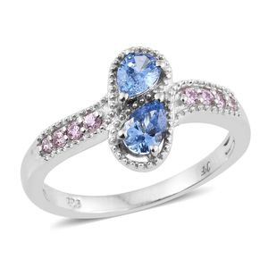 J Francis - Platinum Over Sterling Silver Bypass Drop Ring Made with SWAROVSKI Blue and Pink ZIRCONIA (Size 5.0) TGW 1.53 cts.