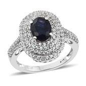 Masoala Sapphire, Cambodian Zircon Platinum Over Sterling Silver Ring (Size 8.0) TGW 3.72 cts.