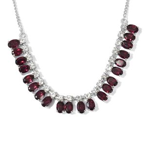 Orissa Rhodolite Garnet, White Topaz Platinum Over Sterling Silver Necklace (18 in) TGW 13.70 cts.
