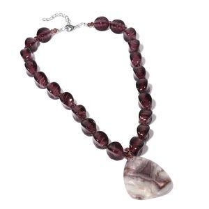 Purple Murano Millefiori Glass, Multi Gemstone Iron Necklace (22 in) TGW 300.00 cts.