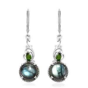 Malagasy Labradorite, Russian Diopside Platinum Over Sterling Silver Lever Back Earrings TGW 10.23 cts.
