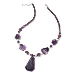 Amethyst, Multi Gemstone Silvertone Necklace (32 in) TGW 600.00 cts.