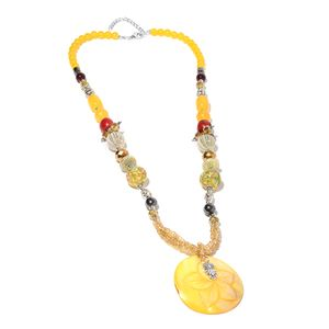Yellow Shell, Multi Gemstone Silvertone & Iron Necklace (30 in) TGW 24.00 cts.