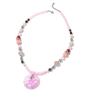 Pink Shell, Multi Gemstone Silvertone Necklace (30 in) TGW 70.00 cts.