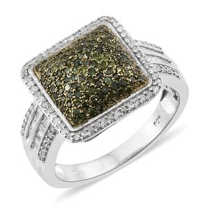 Green Diamond (IR), Diamond Yellow Rhodium & Platinum Over Sterling Silver Ring (Size 7.0) TDiaWt 1.00 cts, TGW 1.00 cts.