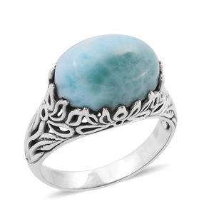 Bali Legacy Collection Larimar Sterling Silver Leaf Ring (Size 7.0) TGW 11.20 cts.