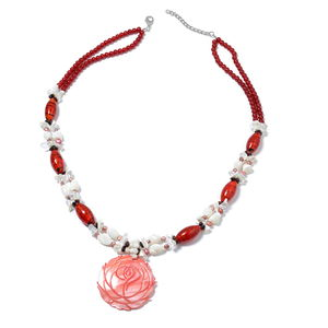 10 Minute Timeout Red Glass, Multi Gemstone Silvertone & Iron Necklace (30 in) TGW 750.00 cts.