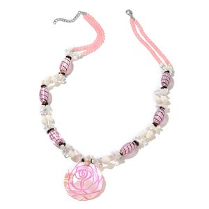 Simulated Pink Sapphire Beads, Multi Gemstone Silvertone Carved Rose Necklace (30-32 in) TGW 858.50 cts.