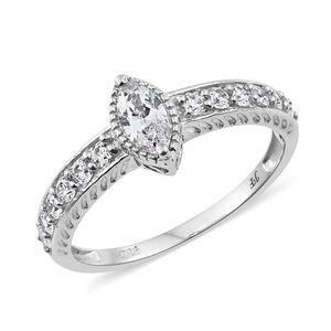 J Francis - Platinum Over Sterling Silver Ring Made with SWAROVSKI ZIRCONIA (Size 7.0) TGW 1.81 cts.