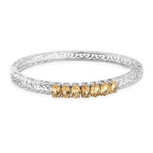Brazilian Citrine Stainless Steel Openwork 7 Stone Bangle (7.25 in) TGW 4.88 cts.