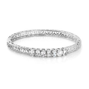 White Topaz Stainless Steel Openwork 7 Stone Bangle (7.25 in) Total Gem Stone Weight 5.94 Cara