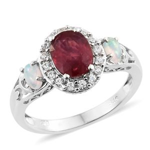 Niassa Ruby, Multi Gemstone Platinum Over Sterling Silver Ring (Size 5.0) TGW 3.25 cts.