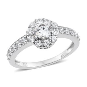 J Francis - Platinum Over Sterling Silver Halo Ring Made with SWAROVSKI ZIRCONIA (Size 6.0) TGW 3.15 cts.