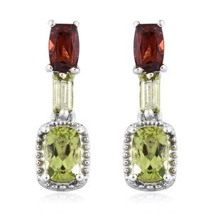 Hebei Peridot, Mozambique Garnet Platinum Over Sterling Silver Dangle Earrings TGW 2.18 cts.