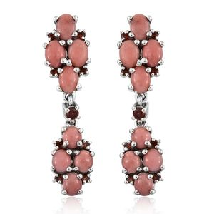 Oregon Peach Opal, Mozambique Garnet Platinum Over Sterling Silver Earrings TGW 5.11 cts.