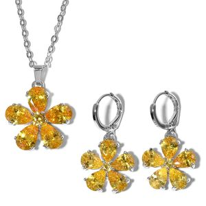 Simulated Yellow Diamond Stainless Steel Earrings and Pendant Chain (18 in) TGW 8.00 cts.