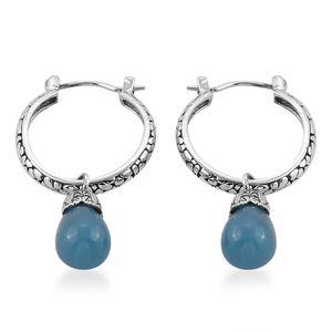 Bali Legacy Collection Burmese Blue Jade Sterling Silver Hoop Earrings TGW 17.28 cts.