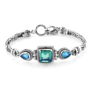 Bali Legacy Collection Peacock Quartz Sterling Silver Bracelet (8.00 In) TGW 12.94 cts.