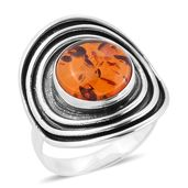 Baltic Amber Sterling Silver Cuff Ring (Size 6.0)