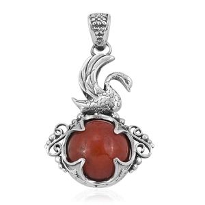 Bali Legacy Collection Burmese Red Jade Sterling Silver Pendant without Chain TGW 14.94 cts.