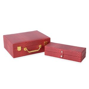 Wine Red Dargon Skin Pattern Faux Leather Set of 2 Jewelry Box with Button Clasp, Golden Lock and Handle (8.5x6.7x1.1, 8.5x3.1x2.2 in)