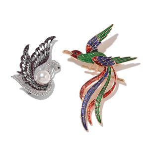 Multi Color Austrian Crystal, Multi Gemstone, Enameled Doultone Set of 2 Swan and Phoenix Brooch TGW 8.10 cts.