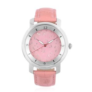 EON 1962 Burmese Pink Jade Swiss Movement Water Resistant Watch with Pink Genuine Leather Strap & Stainless Steel Back TGW 25.00 cts.