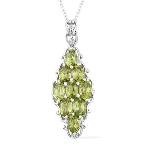 Hebei Peridot Platinum Over Sterling Silver Pendant With Chain (20 in) TGW 4.60 cts.