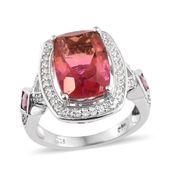 Arizona Sunset Quartz, Multi Gemstone Platinum Over Sterling Silver Ring (Size 7.0) TGW 8.43 cts.