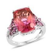 Arizona Sunset Quartz, Multi Gemstone Platinum Over Sterling Silver Ring (Size 7.0) TGW 12.00 cts.