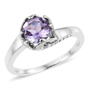 Rose De France Amethyst, Lab Created Pink Sapphire Stainless Steel Leaf Bypass Ring (Size 10.0) TGW 1.90 cts.