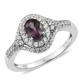 Burmese Lavender Spinel, Cambodian Zircon Platinum Over Sterling Silver Ring (Size 9.0) TGW 1.71 cts.