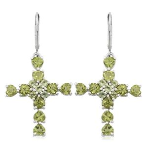 Hebei Peridot Platinum Over Sterling Silver Cross Lever Back Earrings TGW 5.60 cts.