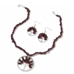 Mozambique Garnet Copper Wire Tree with Matching Stainless Steel Shepherd Hook Earrings and Necklace (18-20 in) TGW 316.50 cts.