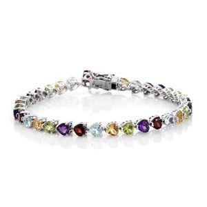 TLV Multi Gemstone Platinum Over Sterling Silver Bracelet (8.00 In) TGW 16.17 cts.